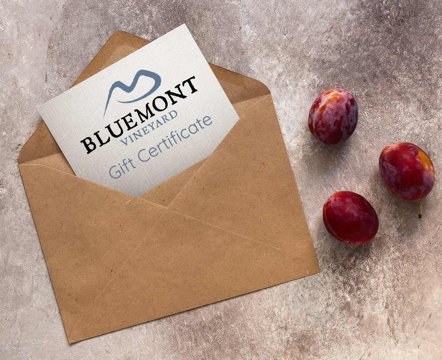 Bluemont Gift Certificate in an envelope