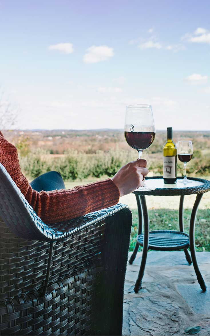 Wine on the patio at Stone Cottage