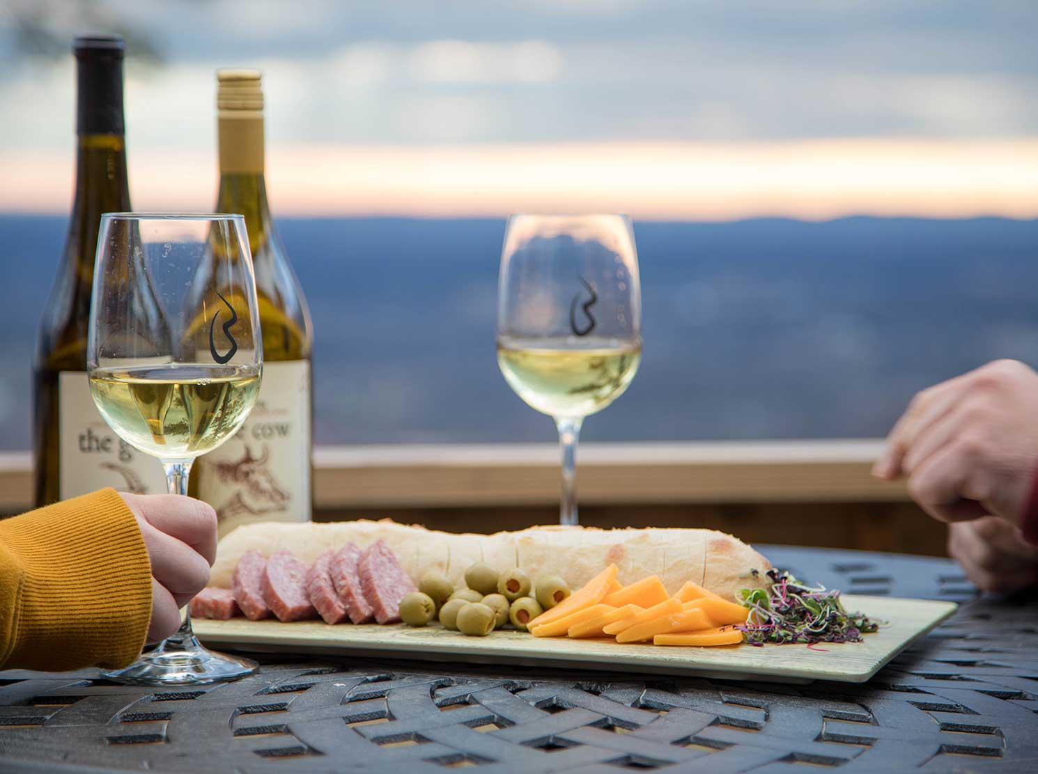 Couple enjoying wine and cheese plate on deck