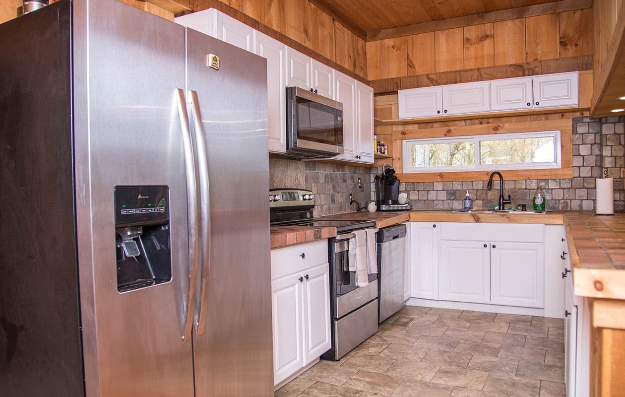 blue door kitchen
